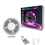 TV LED Backlights, 10ft LED Strip Lights Behind TV USB Operated Color Changing for 46-65 Inch TV RGB 5050 LED Tape Lights with IR Remote Controller and Dimmable