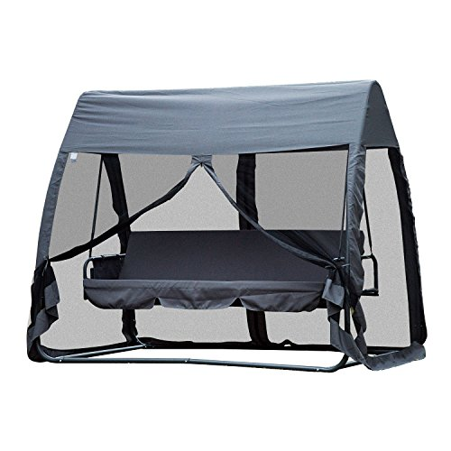 Outsunny 3 Seat Garden Swing Chair All Weather 2 in 1 Outdoor Rocking Bench with Cover Tent Water Resistant Roof + Zipped Door and Mesh Side Panel - Grey