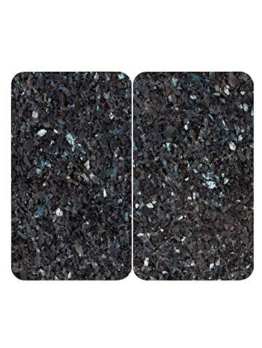 Plaques de cuisson, aspect granit, en verre, noir/bleu clair, chatoyantes, lot de 2