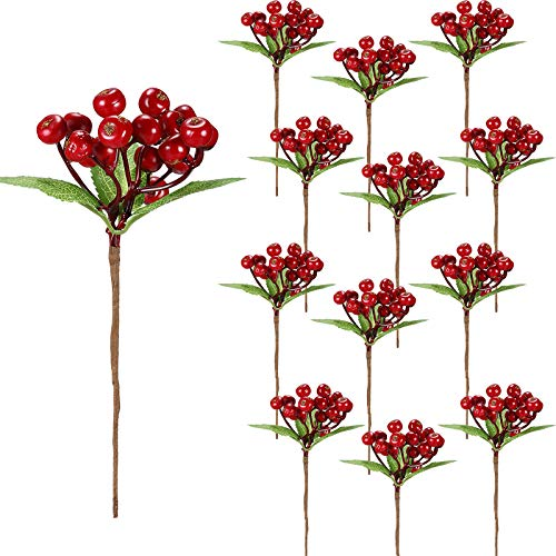 Set of 20 Christmas Artificial Holly Berries Twig Stem Artificial Flowers Winter Berries Bunch Fake Berries Bunch for Christmas Tree Decorations and DIY Craft