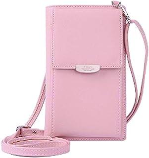 Bolsa pequeña para teléfono móvil, con correa ajustable, color rosa
