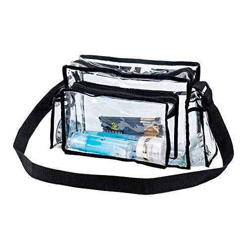 LUVODI Clear Makeup Bag Transparent PVC Cosmetic Organizer Bag Travel Toiletry Pouch Waterproof Washable Vanity Set with 3 External Pockets Adjustable Shoulder Strap