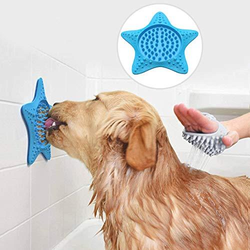 Idepet 2PCS Alfombrilla para lamer para Perros con ventosas, Esterilla dispensadora de Tratamiento Lento, Alfombrilla para lamer el baño para Perros para el Entrenamiento de la ansiedad (Azul)