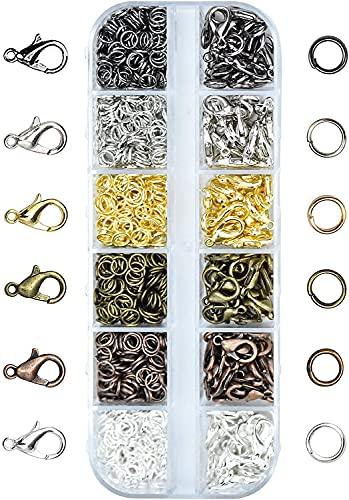 YYAOO 972 piezas de joyería de anillos de salto, kit de reparación de anillos de salto abiertos y cierres de pinza de langosta para pendientes, pulseras, collares y fabricación de joyas