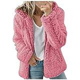 Binhe Chaqueta de forro polar para mujer Fuzzy Sherpa, con cremallera frontal abierta, talla grande, cárdigan Shaggy outwear, Rosa., XXXL