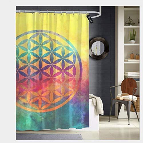 Meiya-Design Regenbogen-Blume des Lebens Duschvorhänge mit 12 Haken, Badvorhang, 183 x 183 cm