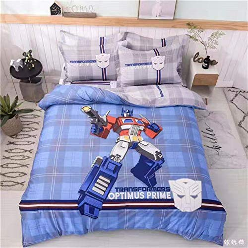 ZI TENG Marvel Transformers Bedding Set Boys Cartoon Transformers Duvet Cover 100% Cotton Kids Teenagers Boys Bed Set,4pcs 1 Duvet Cover 1 Flat Sheet 2 Pillowcase Twin Full Queen King