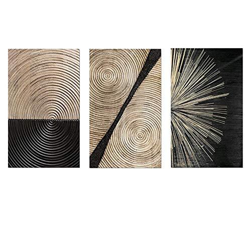 HUIGEFANBUHUA Oro Nero Geometrico Astratto Tela Pittura nordica Poster e Stampe Immagini di Arte della Parete per Soggiorno Arredamento Moderno per la casa-50x70 cm Senza Cornice
