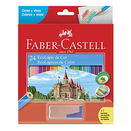 Kit Lápis de Cor Sextavado + Apontador com Depósito, Faber-Castell, EcoLápis, 120124+1APT, 24 Cores