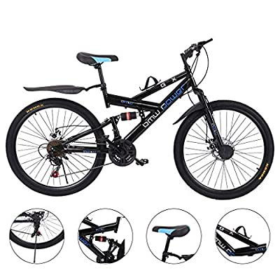 Adult Mountain Bikes, 26 Inch Bike High Carbon Steel Mountain Bikes 21 Speed Bicycle Full Suspension MTB for Men and Women Outdoor Racing Cycling (Black-A)