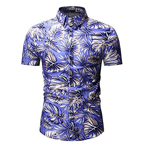 Camisa Henley para Hombre con Estampado De Vacaciones para Hombre De Manga Corta Moda Verano Cuello Kent Slim Fit Stretch Moderno Urbano Nueva Camisa Hombre A-Blue XXL