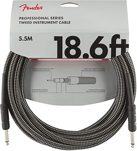 Fender Professional 18.6' Instrument Cable - Grey Tweed - 1/4 Inch Straight
