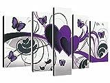 WUHUAGUO Cuadros Modernos Impresión De Imagen Artística Digitalizada   Lienzo Decorativo para Salón O Dormitorio Arte Amor Morado Estilo Abstractos   5 Piezas 150X80Cm XXL