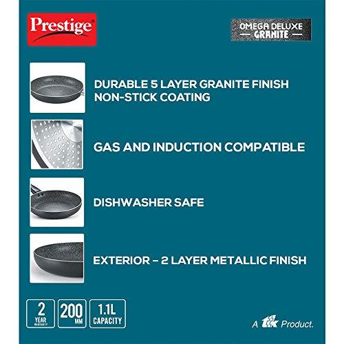 Prestige Omega Deluxe Aluminium Granite Fry Pan, 200mm (Omelette Pan),Black