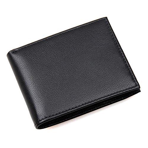 Heren Eerste Laag Koeienhuid Portemonnee RFID Anti-scan Multi-Card bit Kaarthouder Zwarte Portemonnee met Foto bit