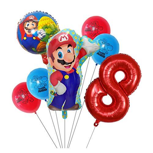 Xx101 Globo 7 unids Super Mario Globos 30 Pulgadas Número 1 2 3 Balloon Boy Cumpleaños Decoración de la Fiesta de la Fiesta de Dibujos Animados Game Theme Party Supplies Kids Toys (Color : Violet)