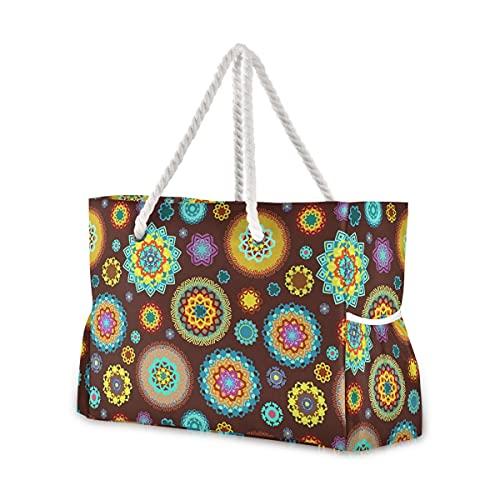 Bolsas de playa grandes Totes de lona Bolsa de hombro colorido árabes sobre fondo marrón resistente al agua Bolsas para gimnasio viajes diario