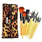 Maquillaje juego de brochas La fibra de maquillaje del cepillo de pelo, maquillaje de madera leopardo sistema de cepillo, maquillaje adecuados Básico.