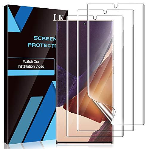 LK 3 Stück Schutzfolie Kompatibel mit Samsung Galaxy Note 20 Ultra, Note 20 Ultra Folie, Fingerabdruck-ID unterstützen Blasenfreie Klar HD Weich TPU Bildschirmschutzfolie