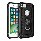 iPhone 6 6s iPhone 7 iPhone 8 Case, Extreme Protection Military Armor Dual Layer Protective Cover with 360 Degree Swivel Ring Kickstand for iPhone 6 6s and iPhone 7 8 Black