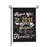 Jopath Agosto Girl 2011 10 años de ser sol mezclado con una pequeña bandera de jardín Hurrricane, 45 x 30 cm de doble cara de tela de lino para patio, césped interior y exterior banderas decorativas