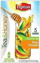 Lipton Tea & Honey To-Go Packets, Mango Pineapple Iced Green Tea 10 ea (Pack of 2)