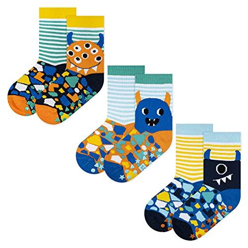 soxo Calcetines Antideslizantes de Color para Bebe   Paquete de 3   Talla 22-24   para Niñas y Niños   Calcetines Sonajero Animales de Algodón   Antialérgicos y no Irritan la piel