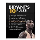 123 LifeRegole di Kobe Bryant,Quadri su Tela Kobe Bryant,Poster Motivazionali di Pallacanestro,Decorazioni LA Lakers per La Camera dei Ragazzi Senza Cornice(18x24inches/45x60cm)