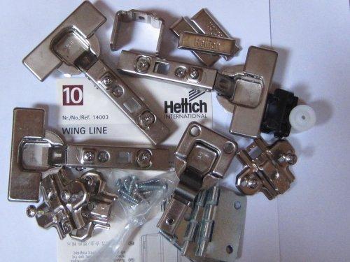 Hettich Wingline 10, Montagesatz für eine zweiflügelige Tür, Falttürpaket, Artikelnr. 14003