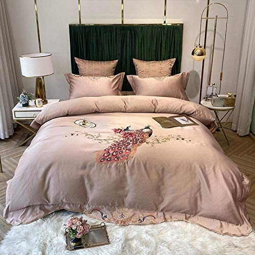 geek cook Four-piece bed,Spring and summer Nordic ice silk sheets four-piece cotton cotton washed silk embroidery flower bedding-Champagne Gold_Suitable for 1.5m-1.8m bed