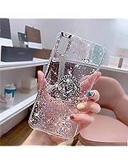 JAWSEU Funda Compatible con iPhone XR con Anillo Soporte, Brillante Brillo Diamantes Strass Transparente Liquida Cristal Diseño Ultra Delgada Suave Silicona TPU Gel Goma Bumper Carcasa,Claro