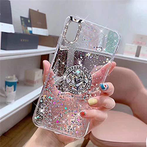 QPOLLY Coque Compatible avec iPhone XS Max, Transparent Cristal Clair Coque avec Anneau Bague Paillettes Diamant Strass Ultra Mince Silicone TPU Souple Gel Bumper Housse Étui de Protection,Clair