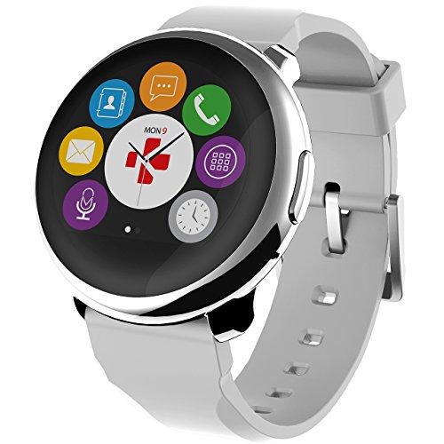 MYKRONOZ Smartwatch Fitnesstracker ZeRound, Silber-Weiss (KRZEROUND-SILVERWHITE)