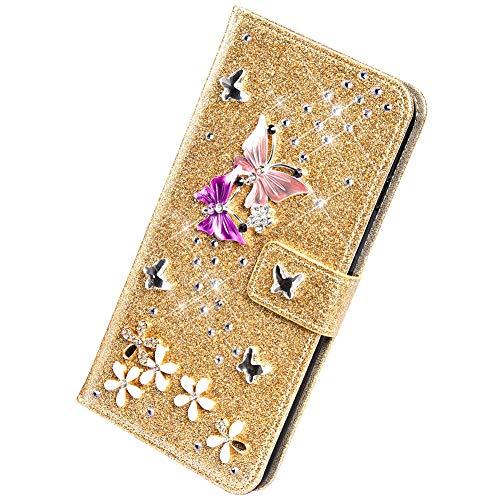 Herbests Kompatibel mit Samsung Galaxy A20e Handyhülle Brieftasche Hülle Schmetterling Blumen Muster Bunt Glitzer Bling Glänzend Strass Diamant Leder Schutzhülle Flip Case Handytasche,Gold