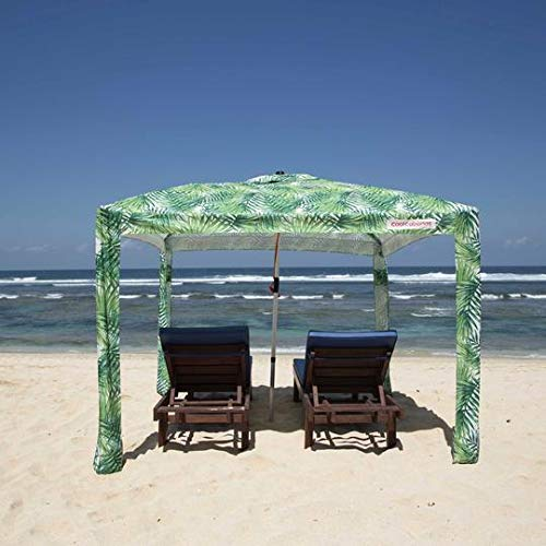 Cool Cabanas 3 Size L UPF50,Providing 50+UVProtection,8 Pockets EasyGo Beach Canopy Umbrella PopUp Sun Shelter For Outdoor Camping Portable Beach Umbrella Canopy Shade Tents Sand Large-UNDER THE PALMS