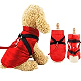 EASTLION Dog Coat with D-ring,Puppy Waterproof Coats Clothes,Doggy Warm Jacket Apparel Vest for Small Dogs Pets Cats,Red,Size M