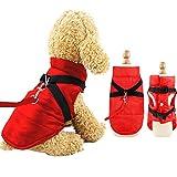 Eastlion Abrigo Perro Pequeño para Invierno,Impermeable Chaleco Prueba de Viento con Orificio para arnés,Cálido Chaqueta Ropa para Mascotas Cachorro,Rojo,M