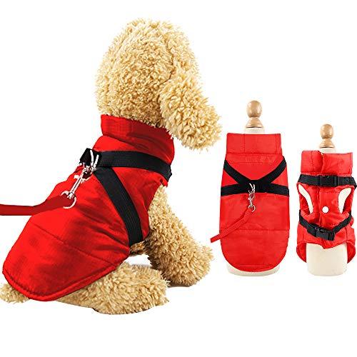 Eastlion Cappotto Giacca Invernale per Cani Taglia Piccola,Calda Cane Gatto Giubbotto Cuccioli Vestiti Piumino Felpa con Imbracatura,Rosso,L