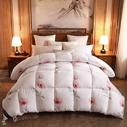 Hahaemall Duvet Double Bed Double duvet Four-Season Goose Down Feather Duvet, King,Night Comfort Feels Like Down Extreme Warm Anti Allergy-B_200x230cm-4000g