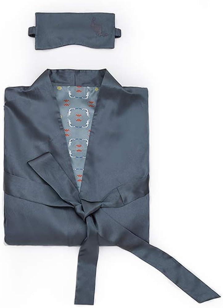 Forbidden City Men's Embroidered Silk Pajamas, Long Sleeve Pajamas Soft Robe
