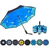 NOORNY Inverted Umbrella Double Layer Automatic Folding Reserve Umbrella Windproof UV Protection for Rain Car Travel Outdoor Men Women Blue Sky