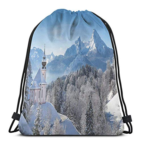 Bolsa de viaje con cordón Bapa Sport Gym Cinch Bag para mujeres, hombres y niños, Alpes nevados Bavaran con María Gern con famosas escenas de macizo Watzmann de Gey