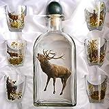 GTK – Set di 7 bicchieri da grappa e trofeo con caraffa con decorazione da caccia, cervo...