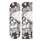 Hupery Skulls and Roses Skateboard Grip Tape Longboard Griptape Waterproof Grip Tape Sheet Sticker Deck Sandpaper Griptape 33.1x 9.1 inch