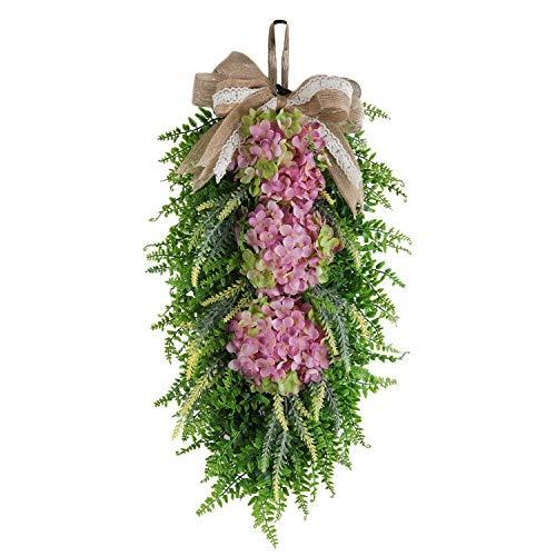 cherrypop Christmas Teardrop Swag Hydrangea Persian Grass Teardrop Swag with Ribbon Bows for Xmas Wall Window Decor