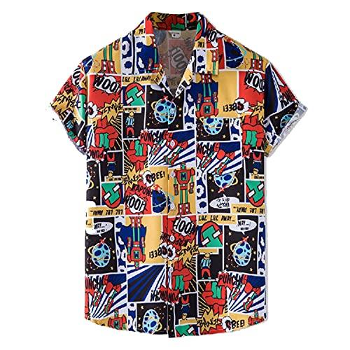 SSBZYES Herrenhemden Sommer Kurzarmhemden Herren T-Shirts Bedruckte Hemden Dünne Blumenhemden Strandrevers Kurzärmelige Blumenhemden