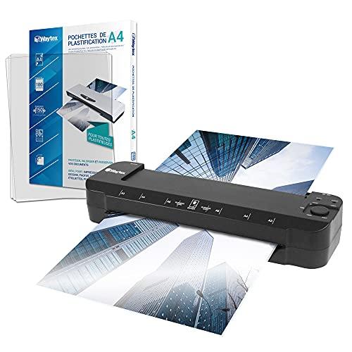 Plastificatrice A3, A4, A5, A6, A7 Pro, ultra veloce a caldo e a freddo, fino a 2 x 150 micron, temperatura regolabile per uso professionale, confezione con 100 buste A4