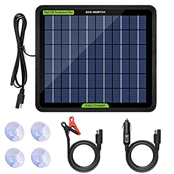 ECO-WORTHY 12 Volt 5 Watt Solar Trickle Charger for 12V Batteries Portable Power Solar Panel Battery Charger Maintainer for Car Boat Marine Motorcycles Truck