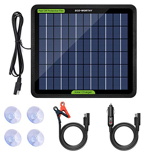 ECO-Worthy 12 Volts 5 Watts Solar Trickle Charger for 12V Batteries Portable Power Solar Panel Battery Charger Backup for Car Boat Marine