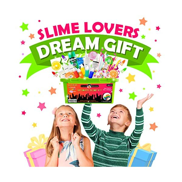 Original Stationery Ultimate Slime Kit: DIY Slime Making Kit with Slime Add Ins Stuff for Unicorn, Glitter, Cloud, Butter, Floam, More - Deluxe Slime Kits Gift for Girls and Boys (Green, 53pcs) 4